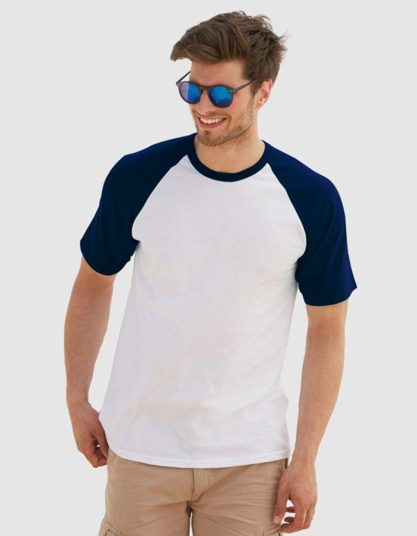 Fruit of the loom baseball t-shirt uomo con maniche colorate
