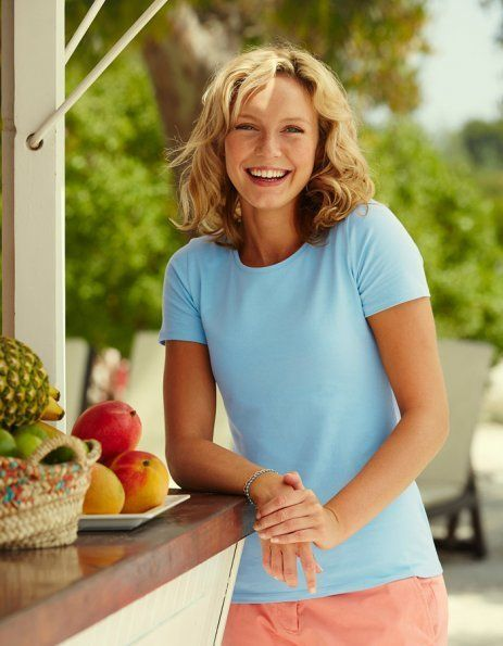 Personalizza t-shirt donna azzurra fruit of the loom